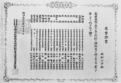 京都法政学校第一回卒業生卒業証書
